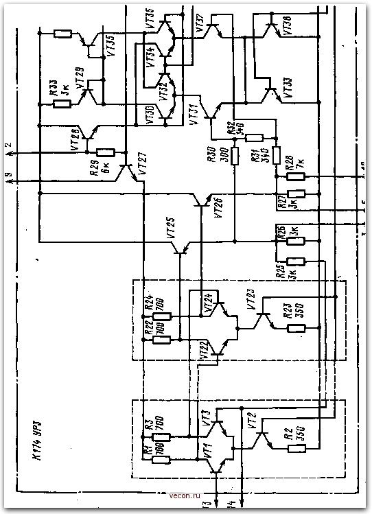 Структурная схема ИМС К174УРЗ